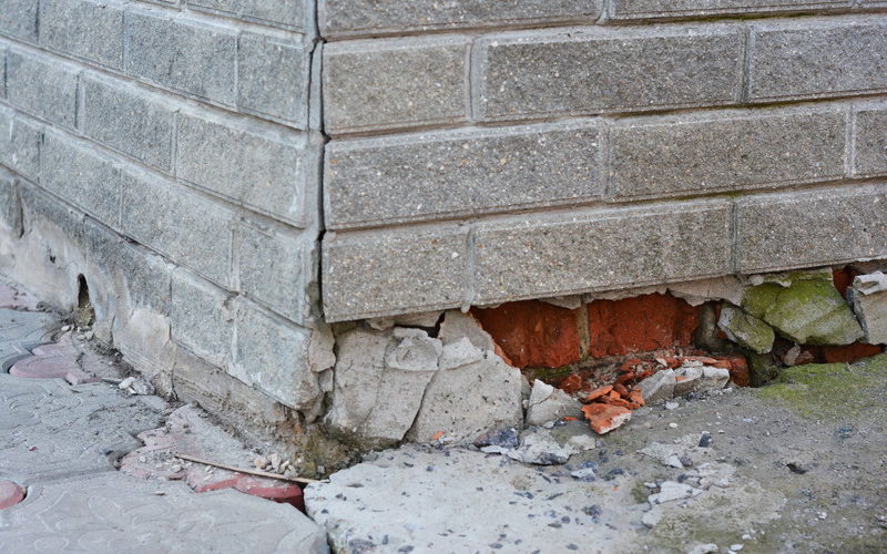 Foundation Repair - Warning Signs. House foundation repair. Foundation Repair. Broken Foundation House Brick Wall